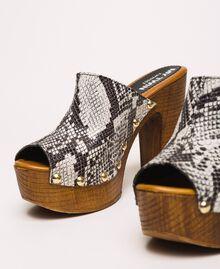 Animal print faux leather sabots White Python Print / Black Woman 201MCT01J-04
