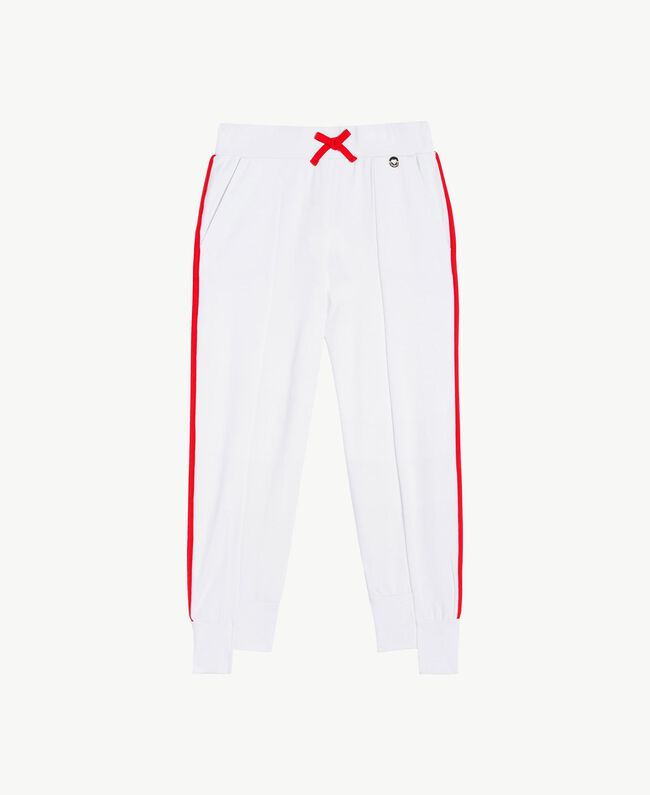 "Jogging trousers Two-tone ""Papyrus"" White / Pomegranate Red Child GS82KC-01"