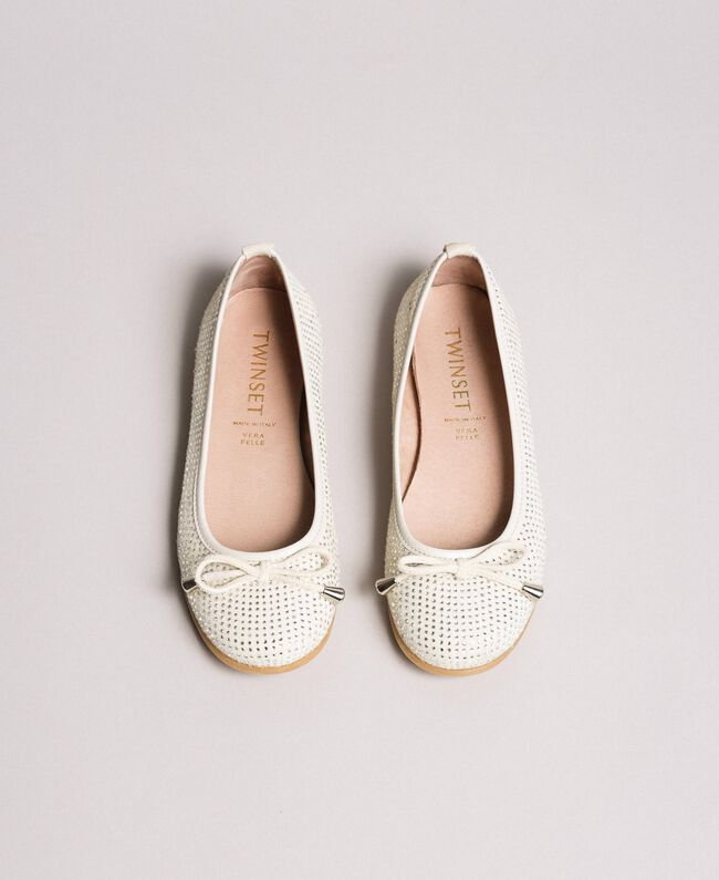 Leather ballerina shoes with rhinestones Pale Cream Child 191GCJ072-04