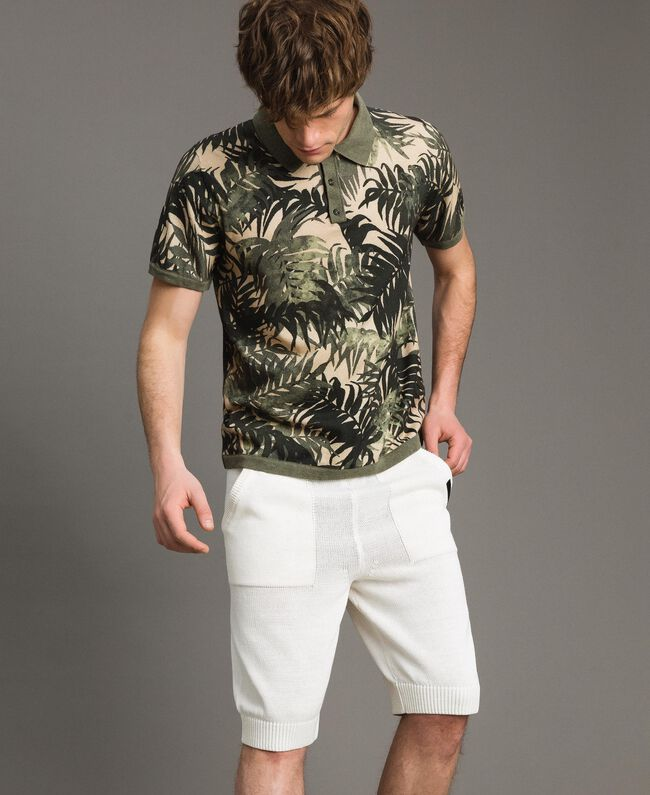 "Crêpe cotton printed polo shirt All Over ""Palms"" Camouflage Print Man 191UT3061-01"
