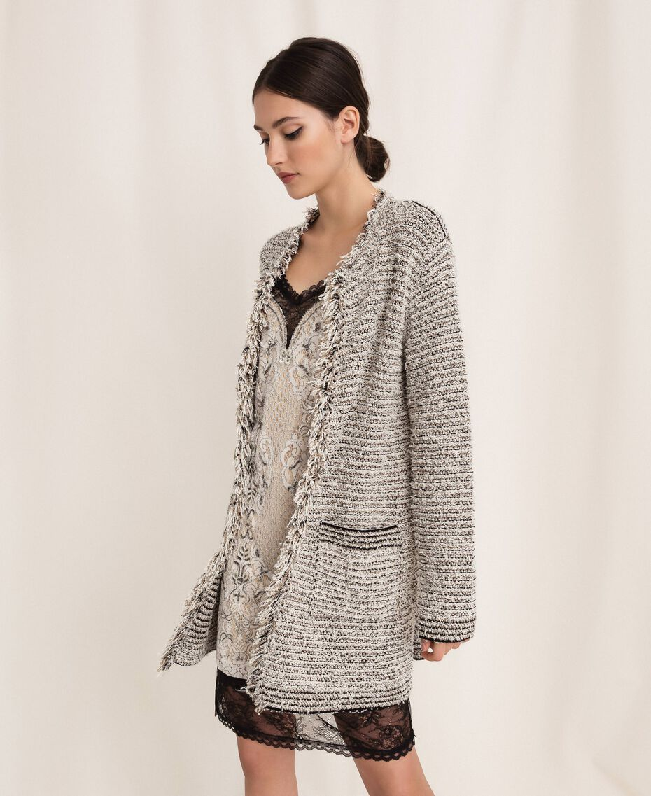 Twisted yarn jacket with lurex Multicolour Ivory / Black Woman 201TP3160-01