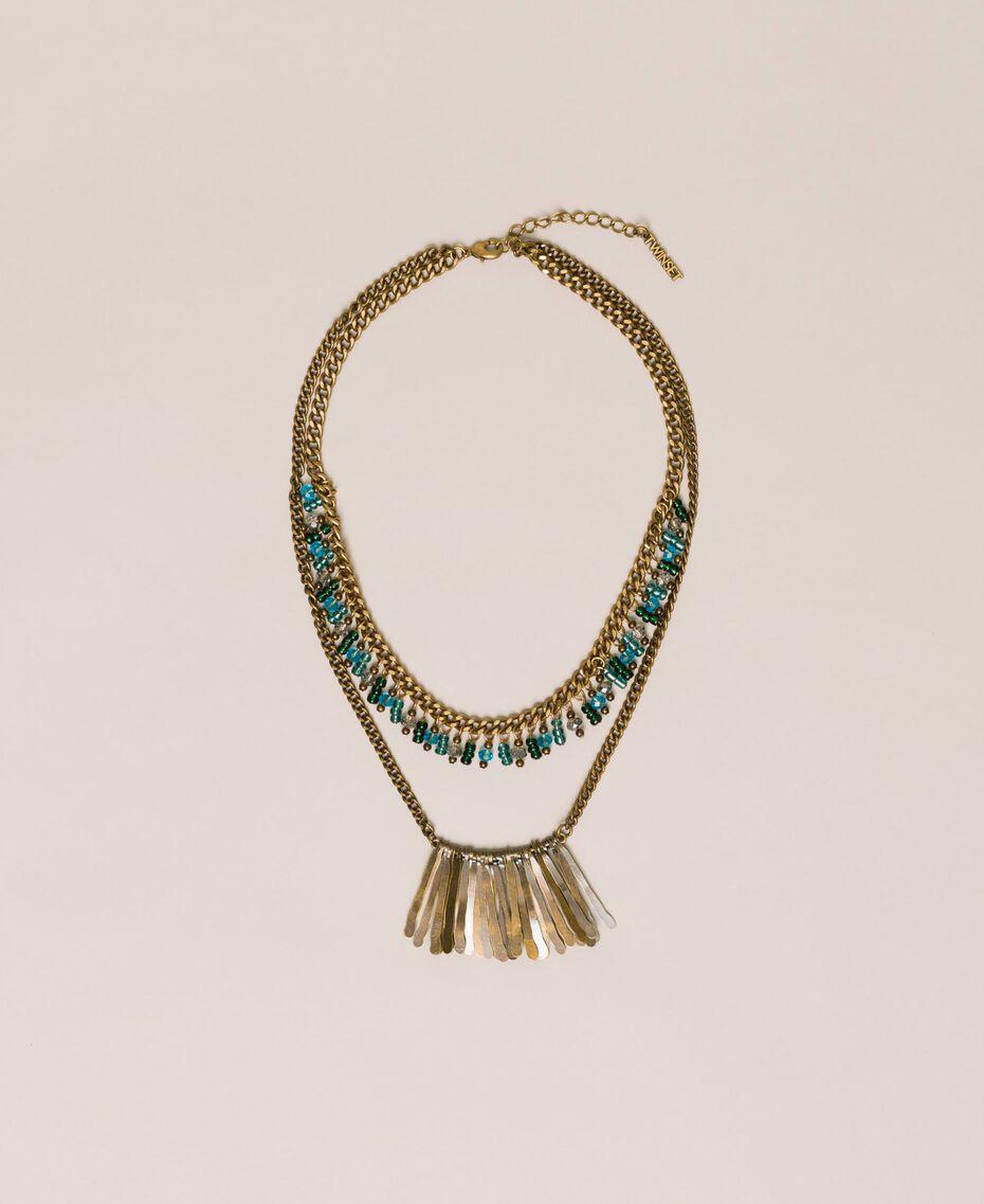 Collier de perles et pendentifs Or «Laiton Vieilli Cuivré» Femme 201TO530D-01