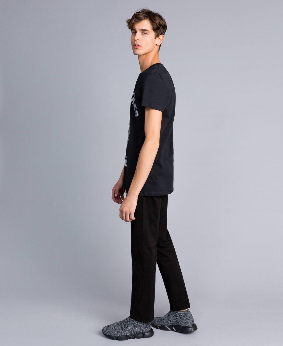 T-Shirt aus Baumwolle mit Print Schwarz Mann UA82GB-02