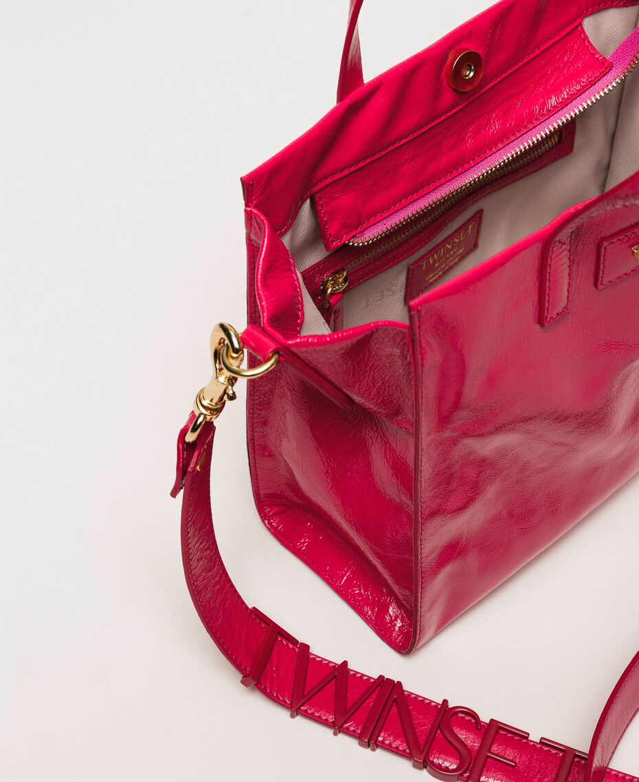 """Medium leather shopper with logo """"Jazz"""" Pink Woman 201TO8091-05"""