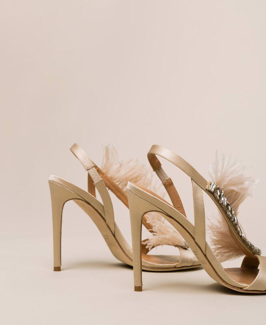 Sandales en satin avec plumes Rose «Jazz» Femme 999TCP032-03