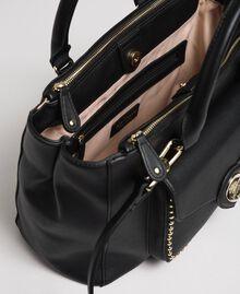 Two-tone faux leather shopper Black Woman 192MA7100-04