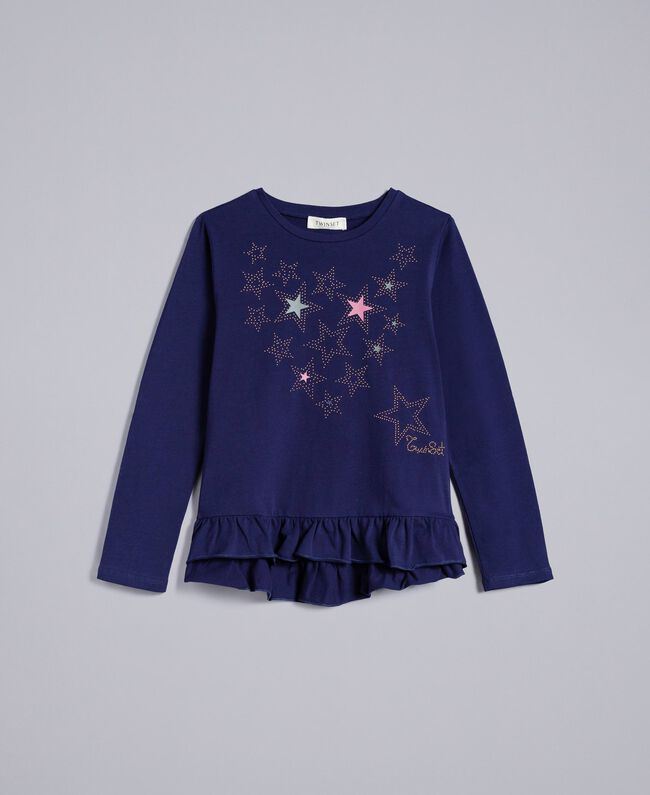 Maxi T-shirt in cotone con borchie Blu Blackout Bambina GA82TG-01