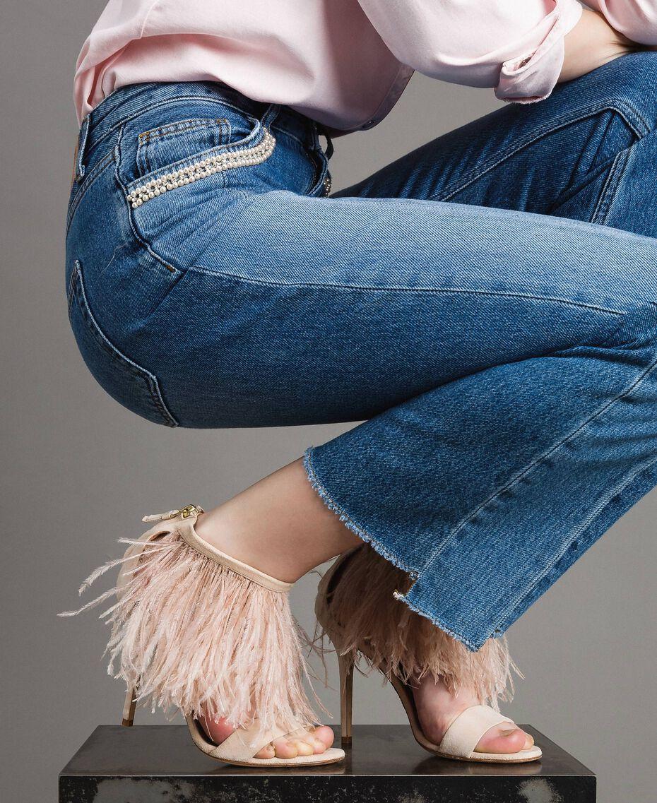 Sandali alti in pelle con piume Rosa Bocciolo Donna 191TCP210-0S