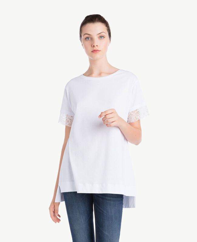 T-Shirt mit Ärmeln aus Spitze Weiß Frau NS82AN-01