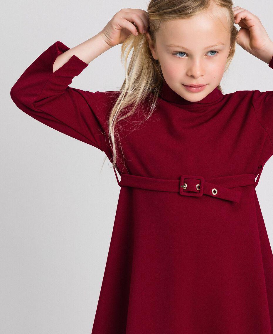 Crêpe dress with belt Ruby Wine Red Child 192GJ2452-05