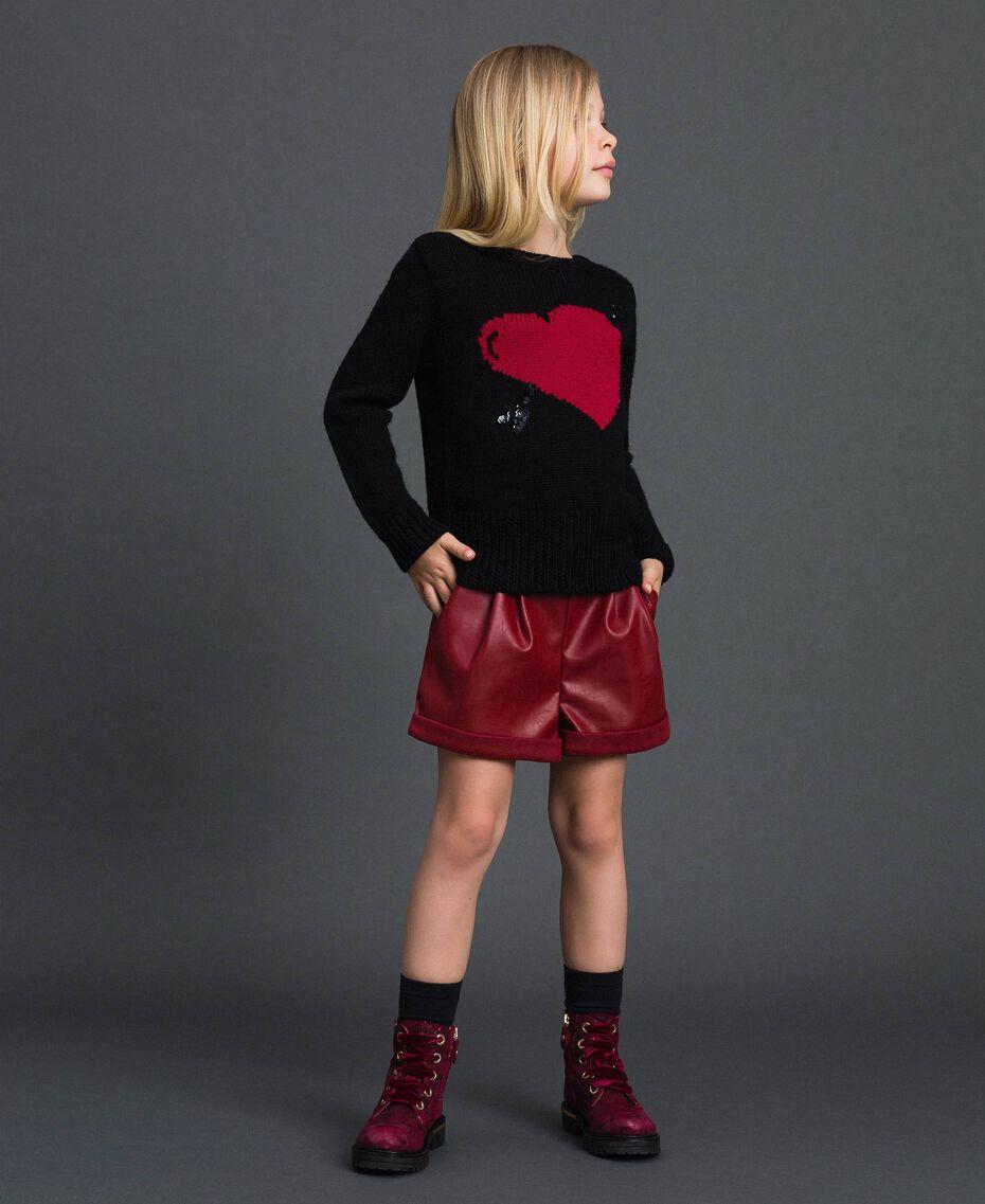 Maglia con cuore a intarsio Nero / Jacquard Bambina 192GJ3191-01