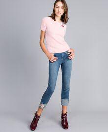 Jeans skinny con ricamo e risvolto Denim Blue Donna JA82V5-01