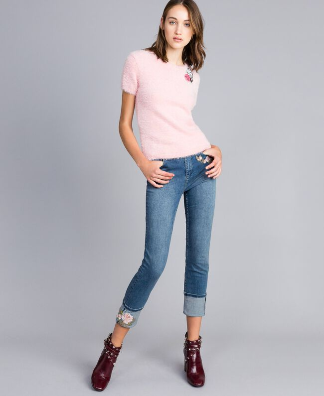 Embroidered skinny jeans with cuffs Denim Blue Woman JA82V5-01