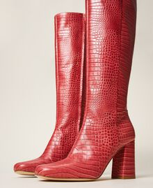 """Leather boots with crocodile print """"Cherry"""" Red Croc Print Woman 202TCP07C-01"""