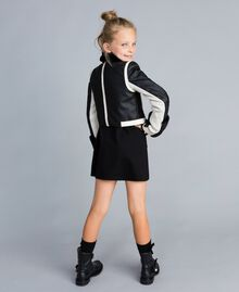 Giacca in similpelle bicolore Bicolor Nero / Off White Bambina GA82BU-03