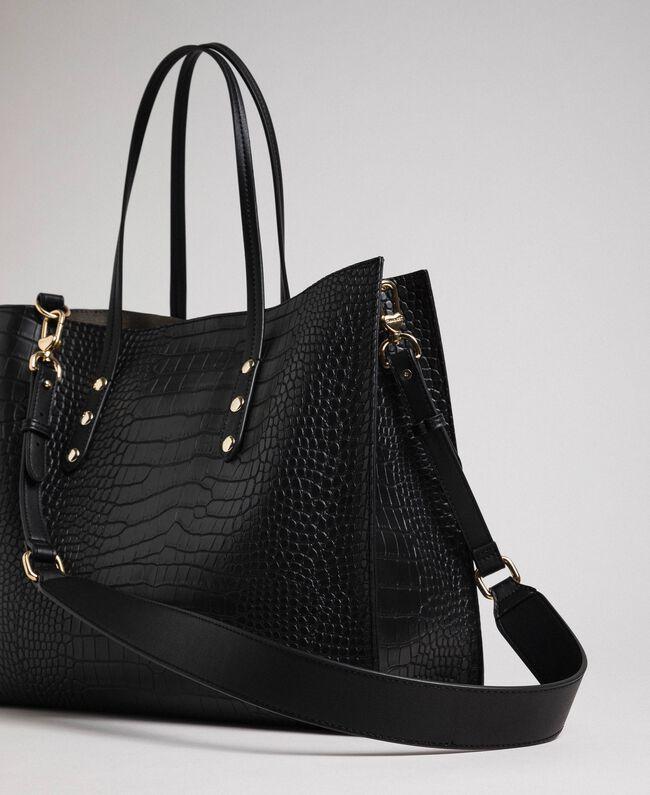 Grand sac cabas avec imprimé crocodile Imprimé Croco Noir Femme 192TA7274-04
