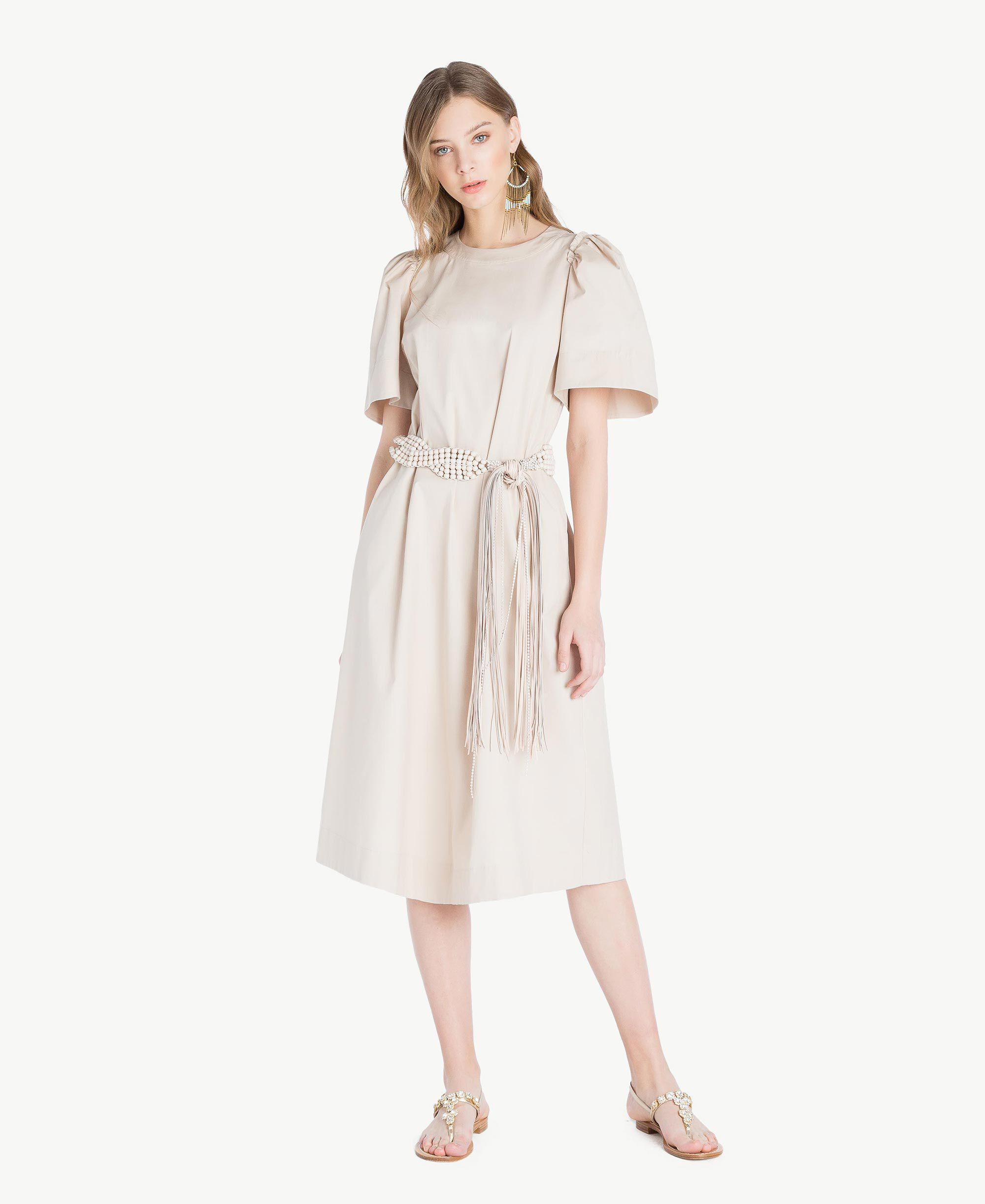 efc2a28edcba04 Long poplin dress Woman, Brown | TWINSET Milano