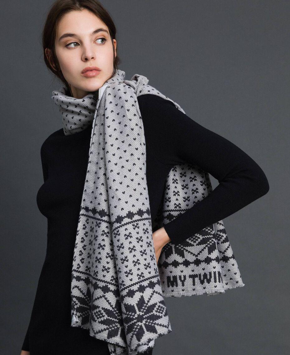 Écharpe avec imprimé effet jacquard Imprimé Flocons de Neige Lys / Noir Femme 192MO5316-0S