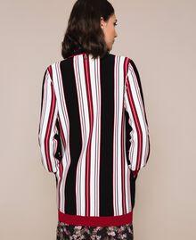 Maxi cardigan rayé Multicolore Vanille / Noir / Rouge «Vénitien» Femme 201MP3050-03