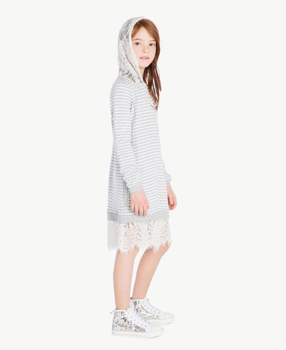 Maxi sweat-shirt dentelle Rayure Blanc Papyrus / Gris Mélangé / Chantilly Enfant GS82UA-03