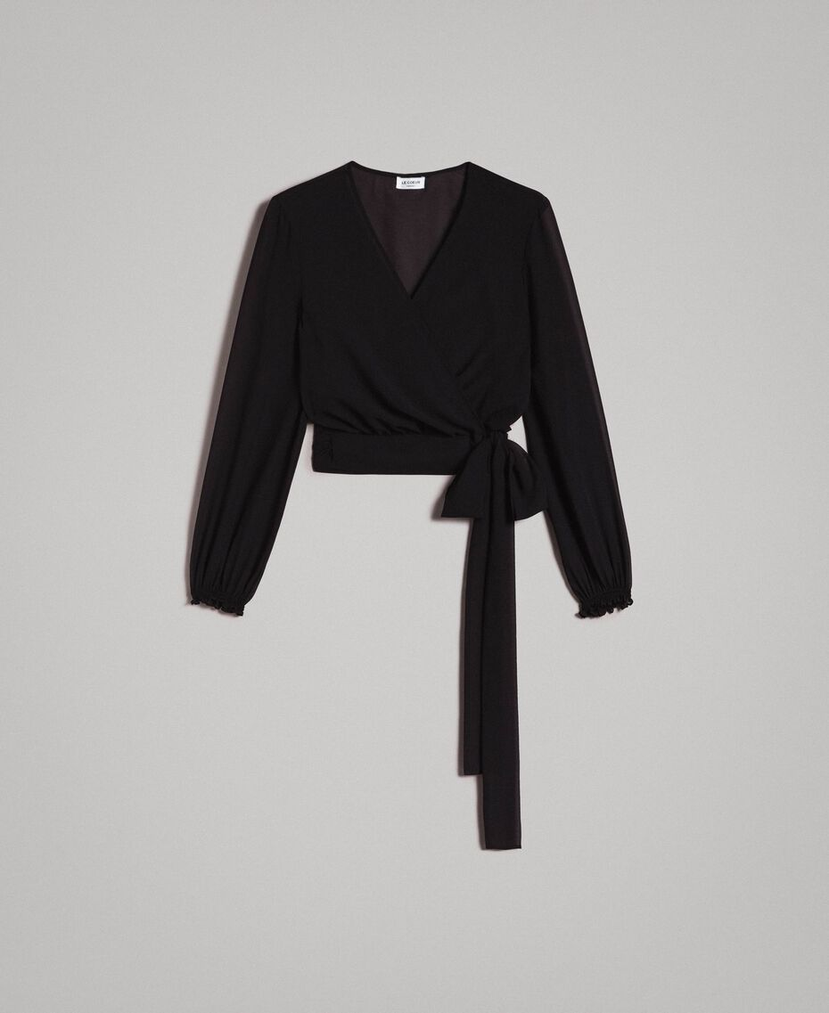 Georgette shrug with bow Black Woman 191ST2206-0S
