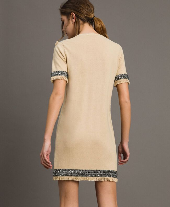 "Embroidered linen blend dress with fringed trim ""Marzipan"" Beige Woman 191TT3050-03"