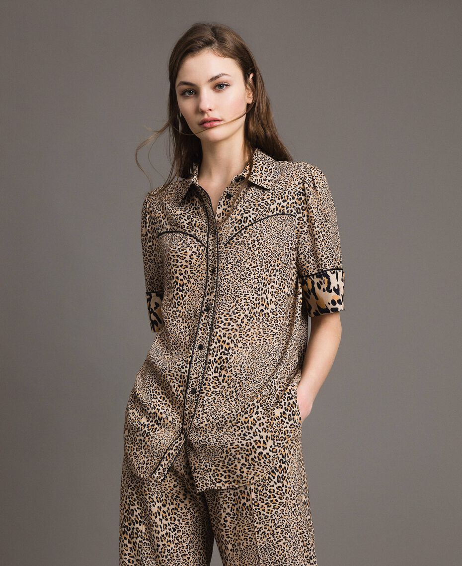 Animal print crêpe shirt Mixed Animal Print Woman 191TP2701-01