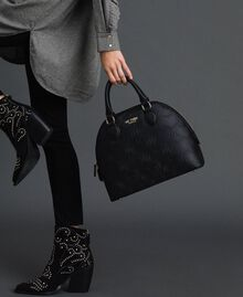 Faux leather heart print bawling bag Black Woman 192MA7011-0S