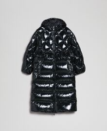 Long quilted padded jacket with real down Black Woman 192TP2501-0S