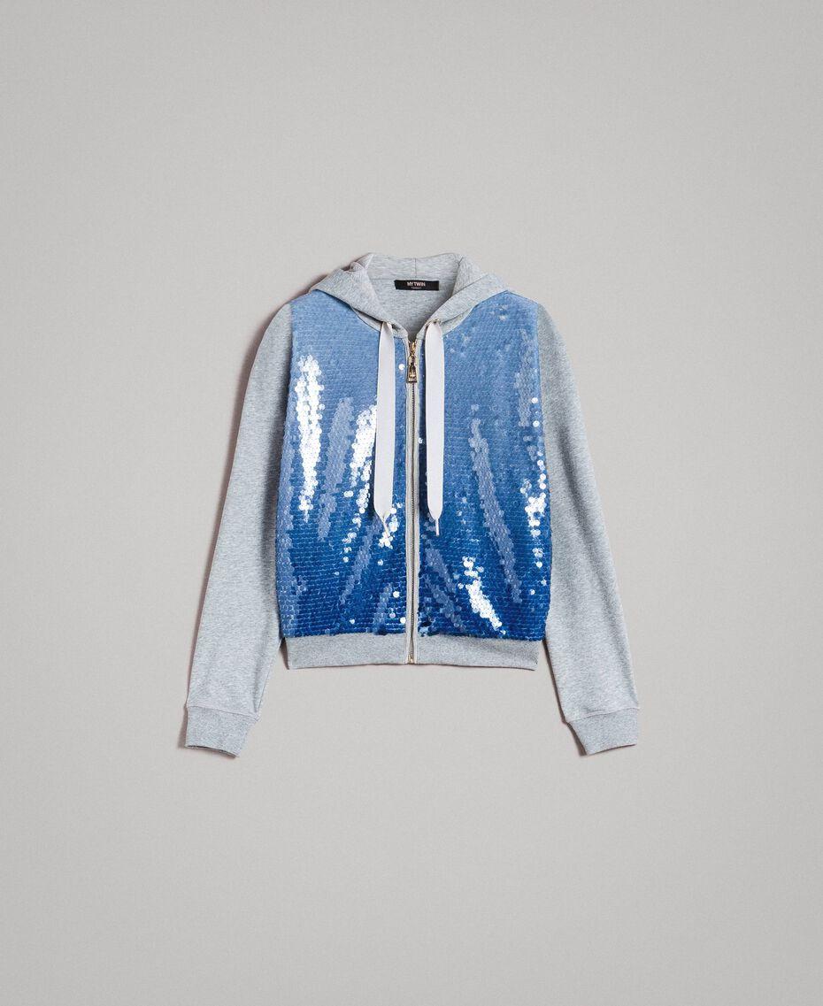 Sweatshirt mit Pailletten im Farbverlauf Zweifarbig Melange Hellgrau / Kornblumenblau Frau 191MP2072-0S