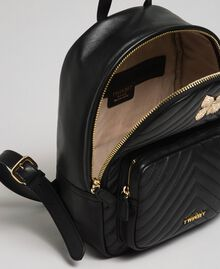 Quilted leather backpack with jewel-butterfly Black Woman 192TA7100-04