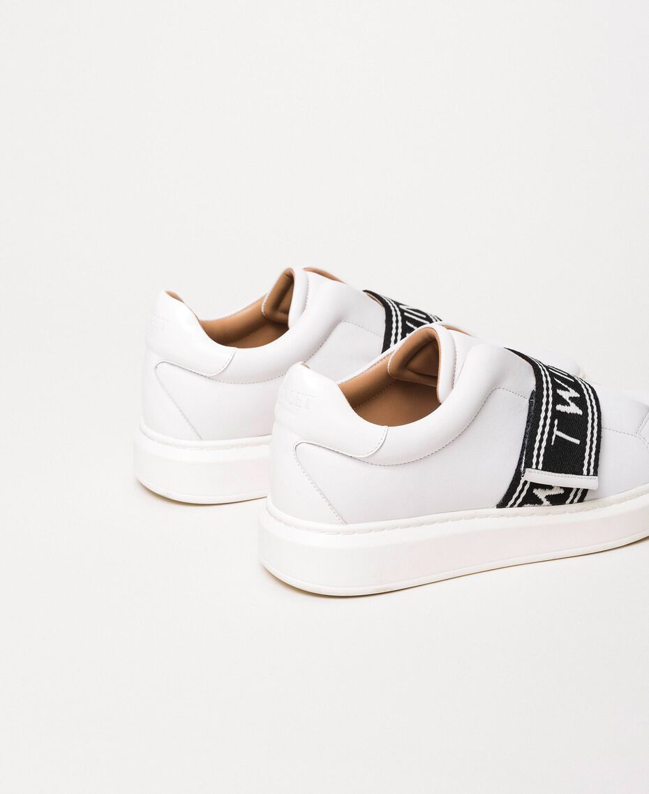 Leather trainers with logo White Woman 201TCP134-02
