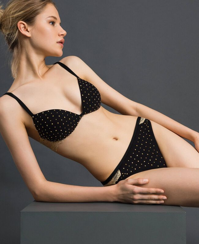Studs and lace G-string Black Woman 192LL6J88-01