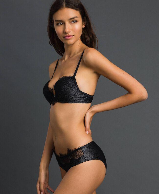 Soutien-gorge push-up avec dentelle Noir Lurex Argent Femme 192LL6B44-01