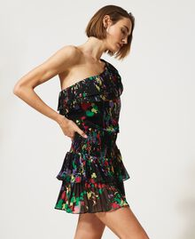 """Rigel"" printed georgette one-shoulder top Black ""Spots"" Multicolour Woman 211MT2653-03"