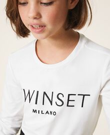 """T-shirt with embroidered logo """"Lurex"""" Silver / Matt Pink Embroidery Child 202GJ2316-04"""