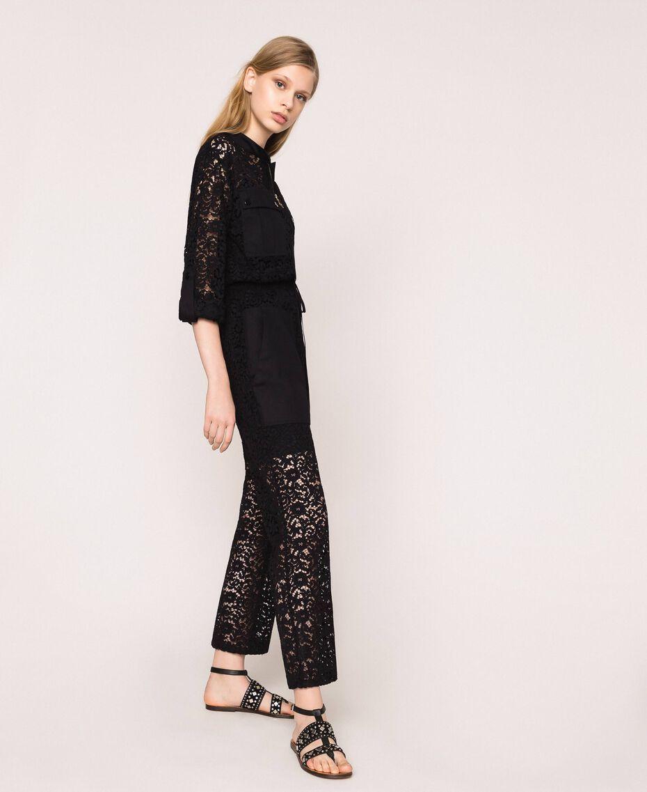 Macramé lace jumpsuit Ivory Woman 201TP2195-02
