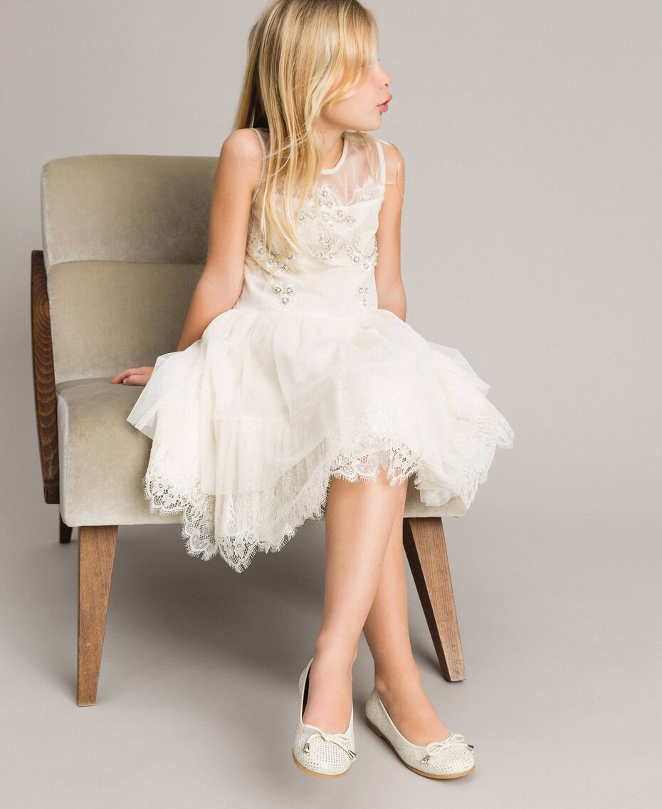 Embroidered tulle and lace dress Pale Cream Child 191GJ2QC0-0S