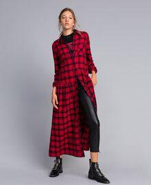 Robe longue en flanelle à carreaux Bicolore Plaid Flanelle Rouge Coquelicot/ Noir Femme YA82EB-01