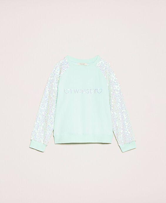 Sweatshirt with logo and sequins