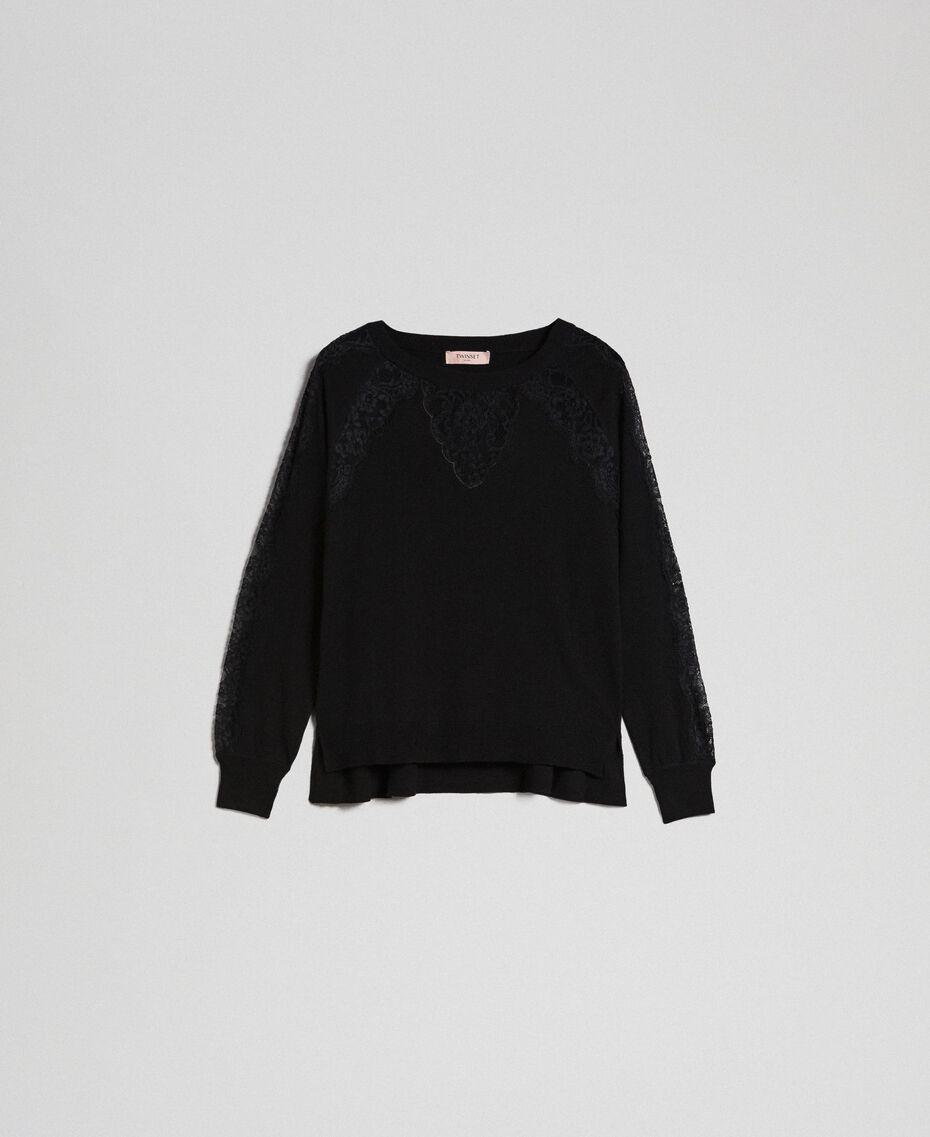 Pull avec dentelle incrustée Noir Femme 192TP3172-0S