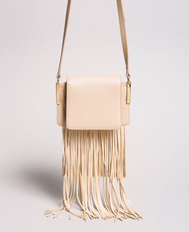 "Leather Bea shoulder bag with fringes ""Marzipan"" Beige Woman 191TO8231-03"