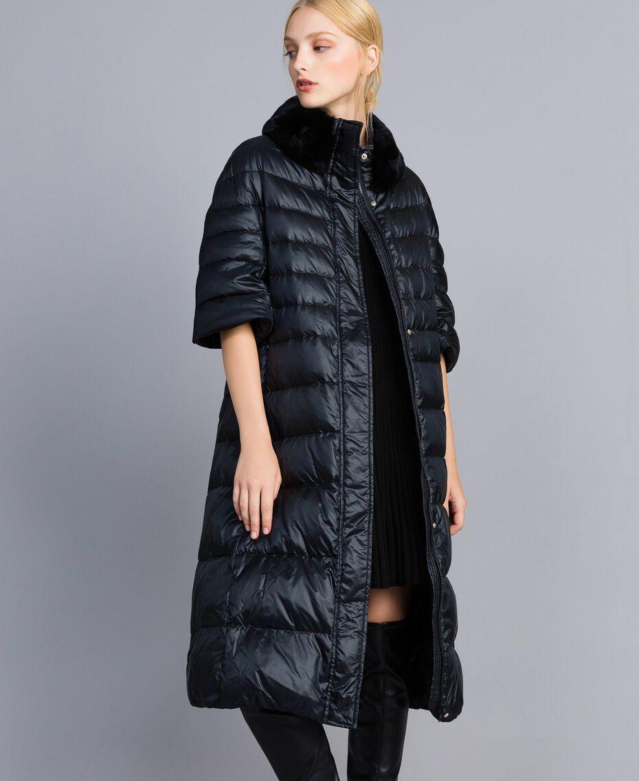 Long shiny nylon padded jacket Black Woman TA82C1-05