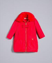 Piumino lungo in nylon Rosso Papavero Bambina FA82A4-01