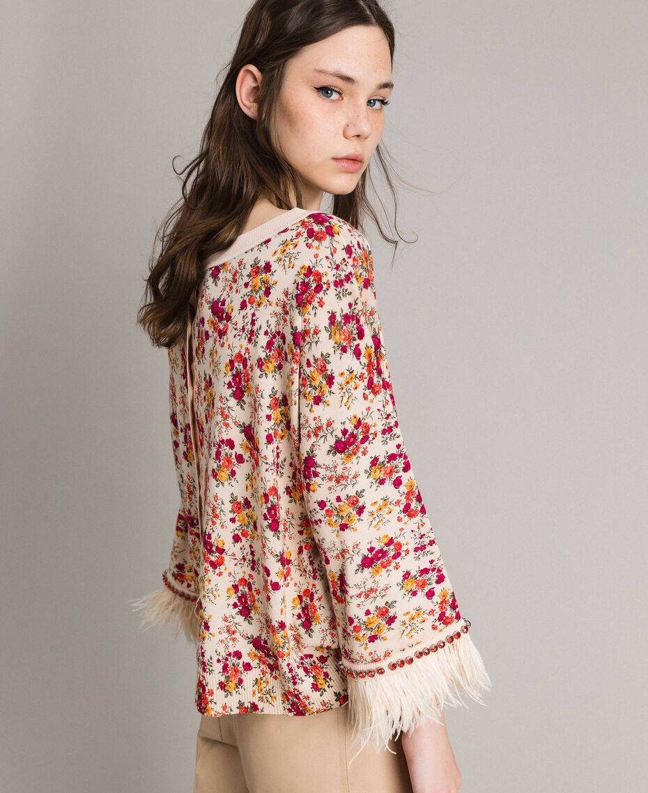 """Pull-cardigan floral avec plumes et strass Imprimé Bouquet Rose """"Bouton De Rose"""" Femme 191TP3415-02"""