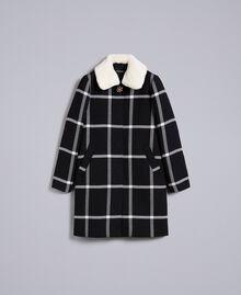 """Cappotto lungo in panno check Bicolor Quadri Nero / Bianco """"Neve"""" Donna PA826Z-0S"""
