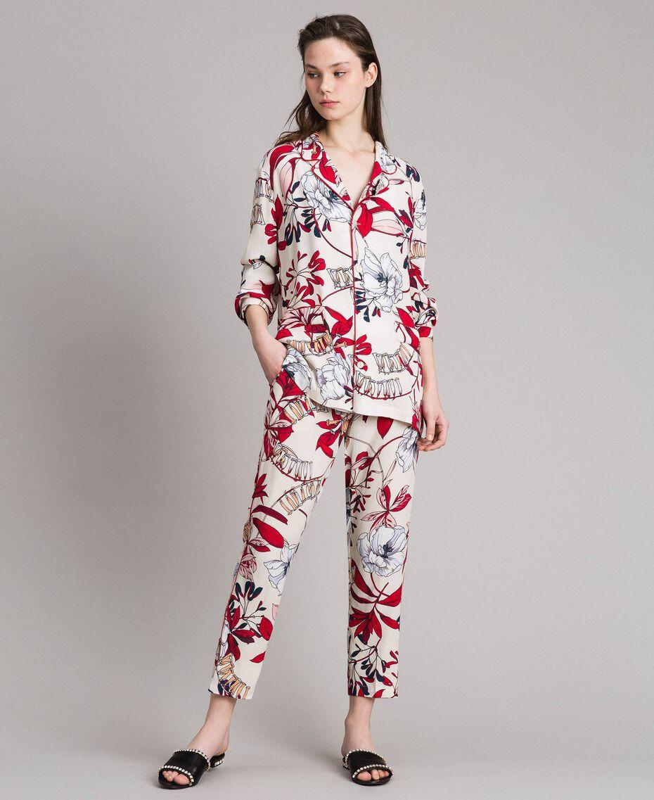 Floral print crêpe shirt Exotic Ecru Print Woman 191ST2230-01
