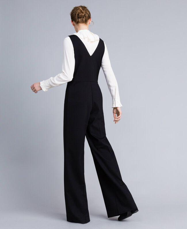 Combinaison sans manches avec chemise en soie mélangée Bicolore Noir / Blanc Neige Femme PA8212-03