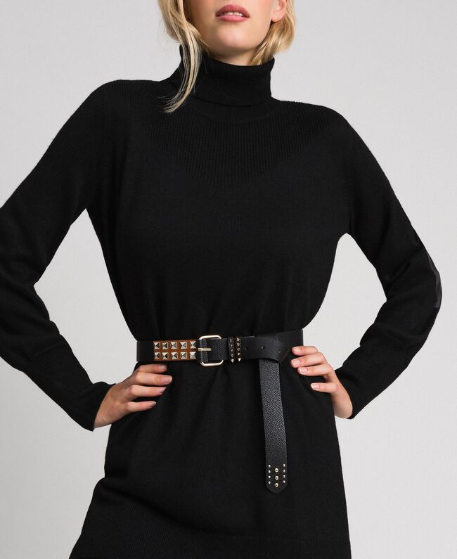 Studded leather belt, regular Black / Leather Woman 192TA4305-0S