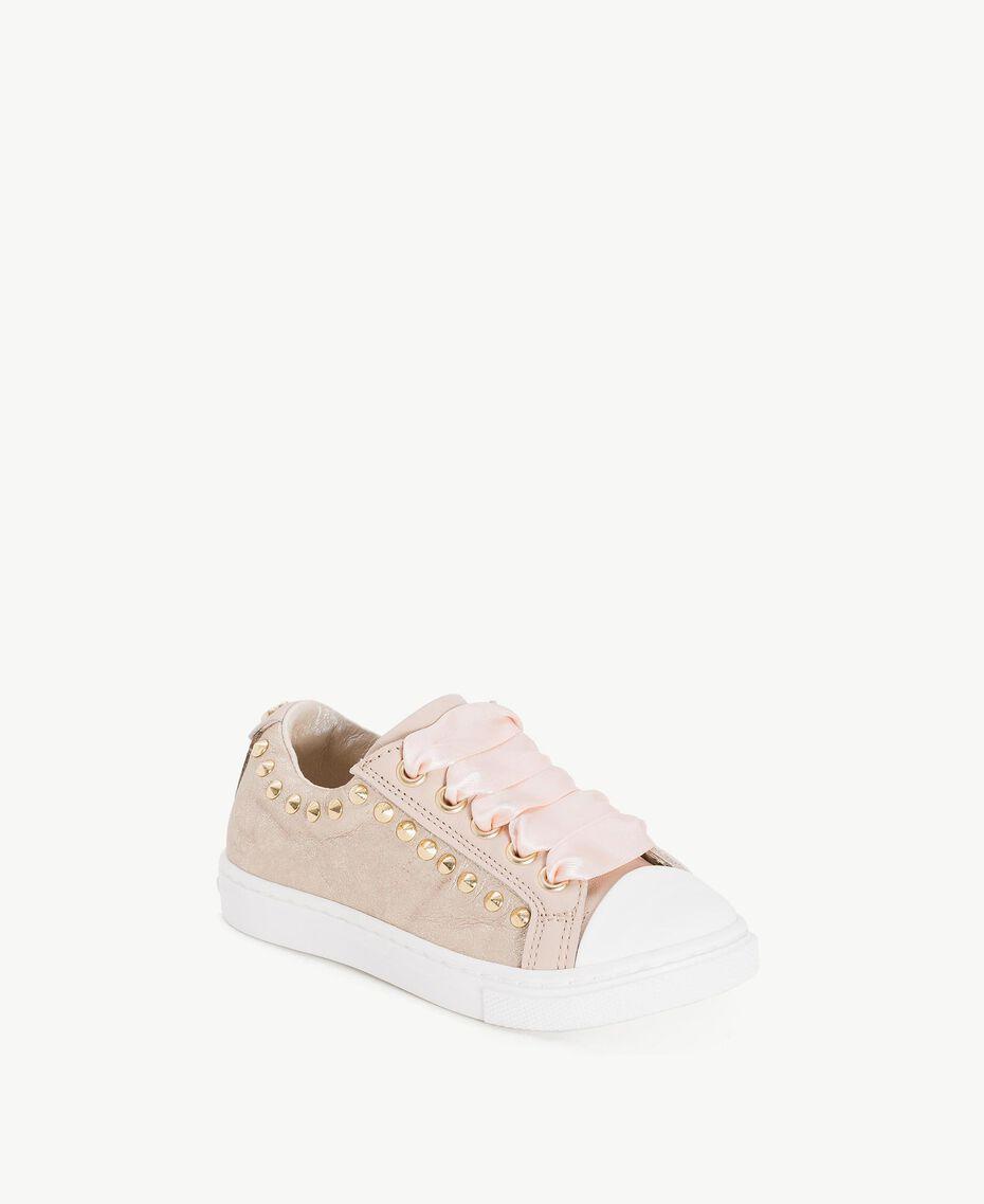 Sneaker mit Nieten Blütenknospenrosa Kind HS86AN-02